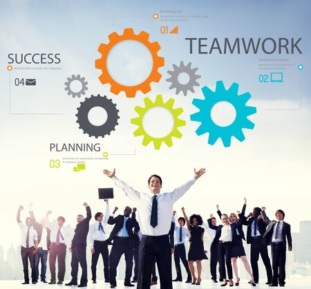 team cooperation: Teamwork Team Collaboration Connection Togetherness Unity Concept
