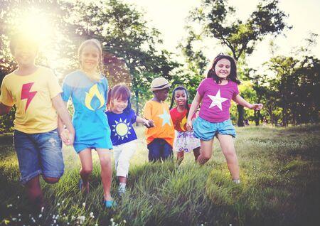 playful: Diversity Children Friendship Happiness Playful Concept Stock Photo
