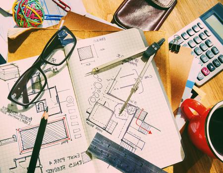 architectural studies: Designer Desk Architectural Tools Blueprint Concept