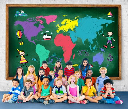 imagination: World Kids Journey Adventure Imagination Travel Concept
