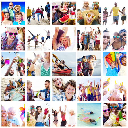 collage: Collage Diverse Faces Summer Beach People Concept