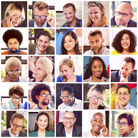 mixed age range: Collage Diverse Faces Group People Concept Stock Photo