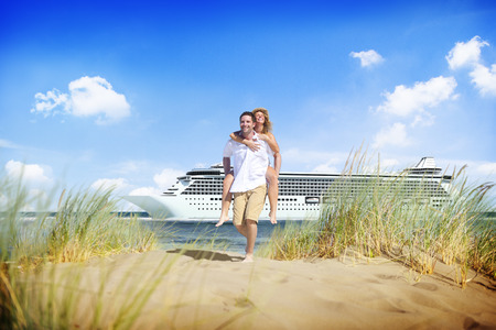 leisure time: Couple Beach Cruise Vacation Holiday Leisure Summer Concept Stock Photo