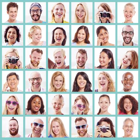 volto uomo: Collage Diverse Faces Espressioni persone Concetto Archivio Fotografico