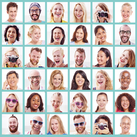 picture person: Collage Diverse Faces Expressions People Concept Stock Photo