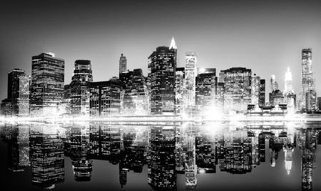 best travel destinations: Building Skyscraper Panoramic Night New York City Concept