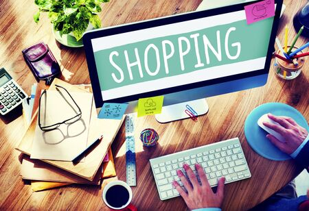 shopaholic: Shopping Retail Shopaholic Consumerism Market Concept Stock Photo