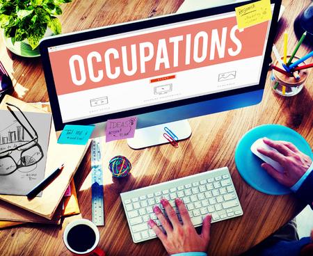 employing: Occupation Job Career Employment Hiring Recruiting Concept