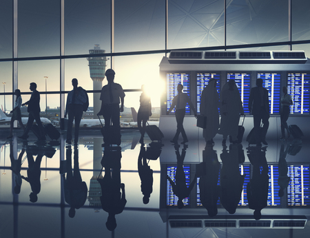 departure: Business People Airport Terminal Travel Departure Concept