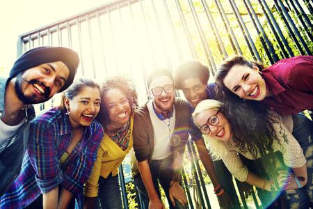 juventud: Vinculaci�n de la comunidad Amigos de equipo Unidad Uni�n Concept Foto de archivo