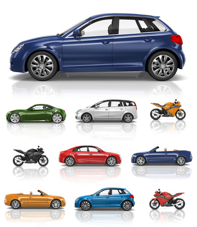 3d mode: Transportation Vehicle Car Motorcycle Performance Concept Stock Photo