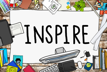 positive note: Inspire Ideas Creativity Inspiration Imagination Thinking Concept Stock Photo