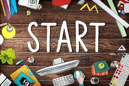 start: Start Journey Mission Achievement Begin Concept Lizenzfreie Bilder