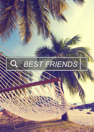 best travel destinations: Best Friends Friendship Searching Box Concept Stock Photo