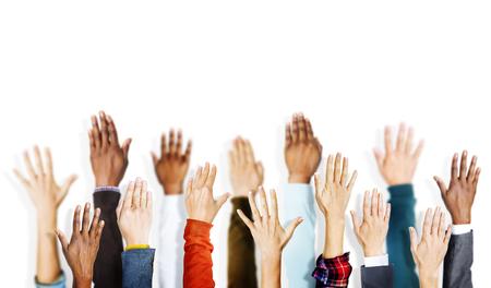 volunteer: Group of Hands Arms Raised Vounteer Concept