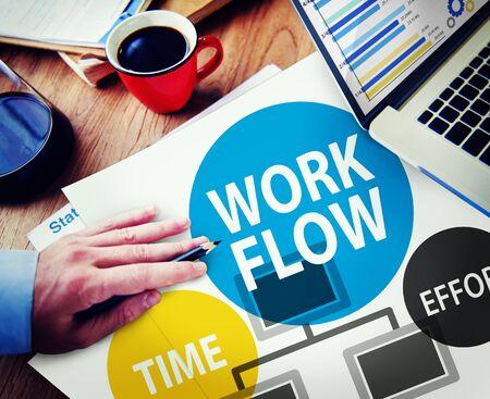 eficiencia: Workflow Esfuerzo Implementar Eficiencia Concepto Negocios Foto de archivo