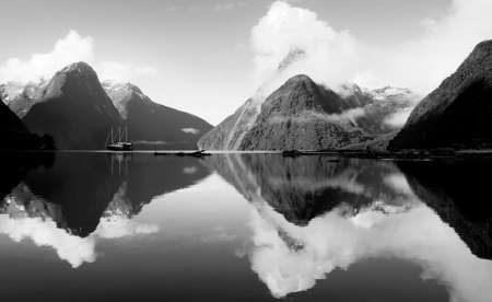 fiordland: Milford Sound Fiordland New Zealand Rural Nature Concept
