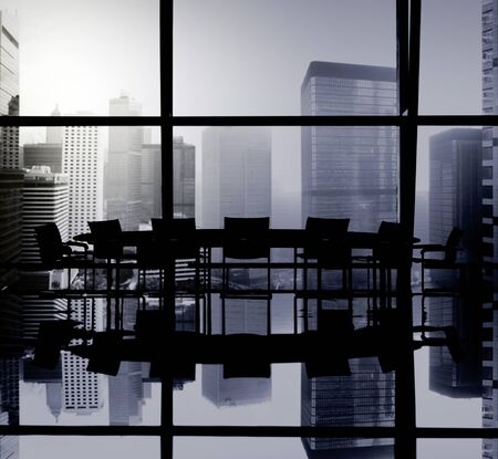 Silhouette Meeting Table Office Room Window Indoor Concept Stock Photo