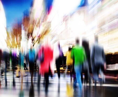 비즈니스 사람들 러쉬 아워 걷기 통근 도시 컨셉