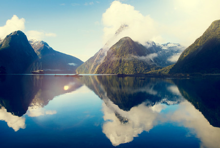 new horizons: Milford Sound Fiordland New Zealand Rural Nature Concept