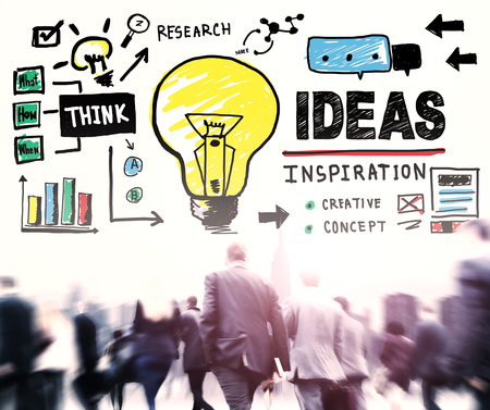 business people walking: Ideas Inspiration Think Creative Research Concept Stock Photo