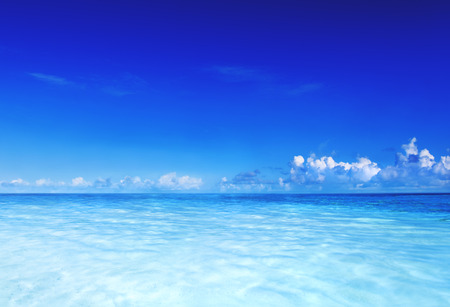 blue sea: Paradise Sea Ocean Sky Blue Tropical Summer Vacation Concept Stock Photo
