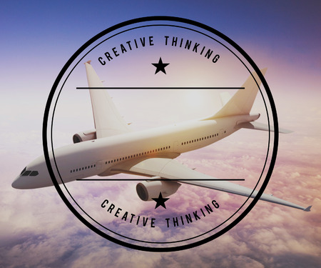 Airplane with creative thinking concept