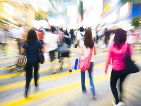 People in Hong Kong Cross Walking Concept Stock Photo