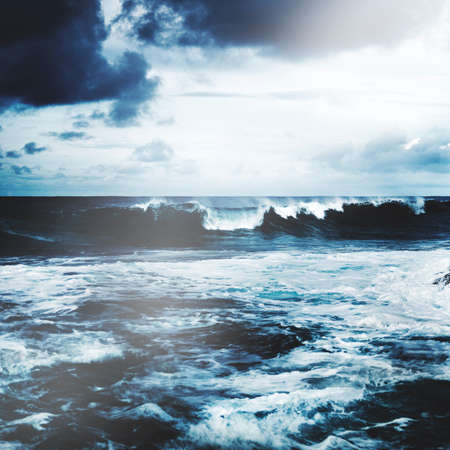 storming: Storming Waves Seascape Natural Disaster Concept