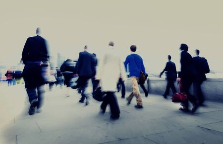 rushing hour: Business People Walking Commuter Rush Hour Concept Stock Photo