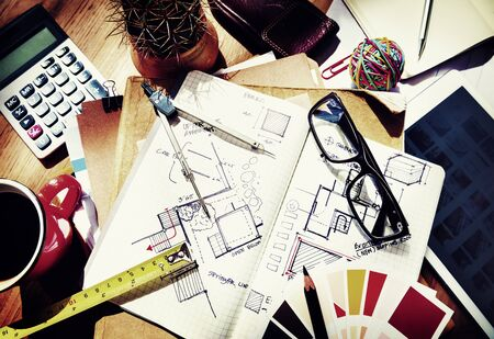 architect tools: Messy Designers Table Sketch Tools Architect Concept