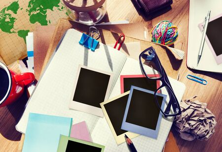 medium group of objects: Designer Desk Architectural Tools Notebook Working Place Concept