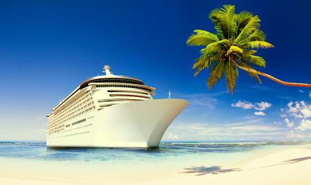 Cruise Ship Beach Sea Palm Tree Concept