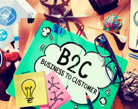 on market: Business To Customer Consumer Commerce Contact Concept Stock Photo