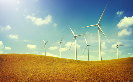 energy fields: Turbine Green Energy Electricity Technology Concept Stock Photo