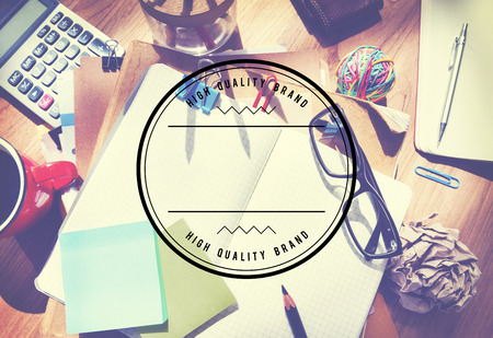 pen and paper: High Quality Brand Best Badge Stamp Concept Stock Photo