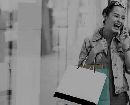 lifestyle shopping: Woman Shopping Outdoors Store Lifestyle Concept