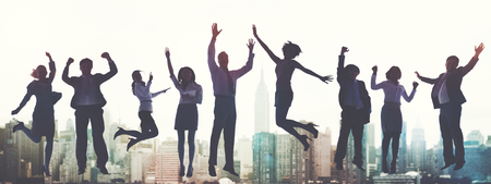 Üzleti emberek siker Izgalom Victory Achievement Concept