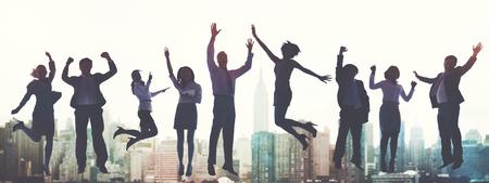 entreprise: Hommes d'affaires Succès Excitation Victoire Achievement Concept Banque d'images
