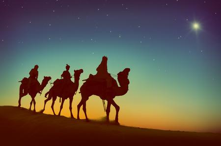 Concepto Reyes Magos Camello Desierto Viaje Belén Foto de archivo - 46600072