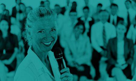 liderazgo empresarial: Businesswoman Speaker Leadership Corporate Business COncept Foto de archivo