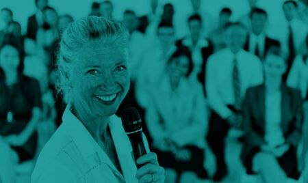 business leadership: Businesswoman Speaker Leadership Corporate Business COncept Stock Photo