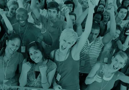people celebrating: Variation Community People Celebrating Carefree Concept