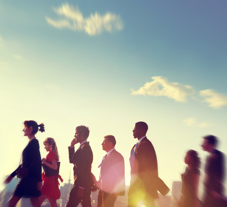 rushing hour: Business People Commuter Corporate City Concept