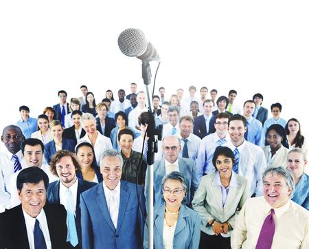 Business Presentation Speech Microphone Group Crowd Stock Photo