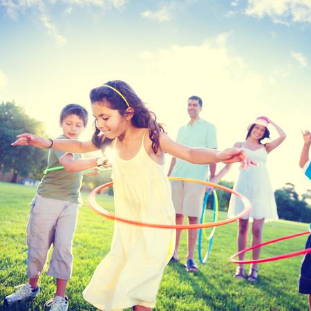 fun day: Family Bonding Park Relaxing Exercise Concept Stock Photo