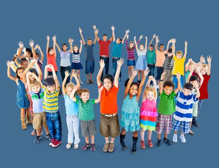 mixed age: Diverse Children Standing Circle Friendship Concept