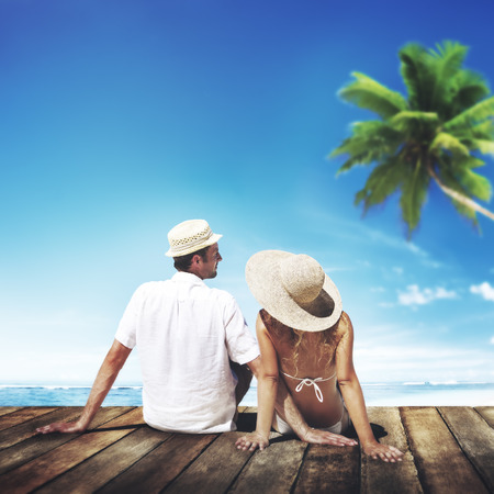 luna de miel: Pareja de luna de miel Summer Beach Viajes Concepto