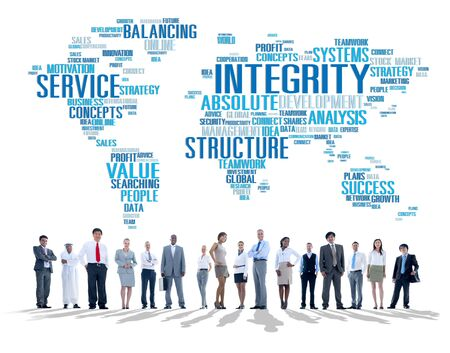 business globe: Integrity Honesty Sincerity Trust Reliability Concept