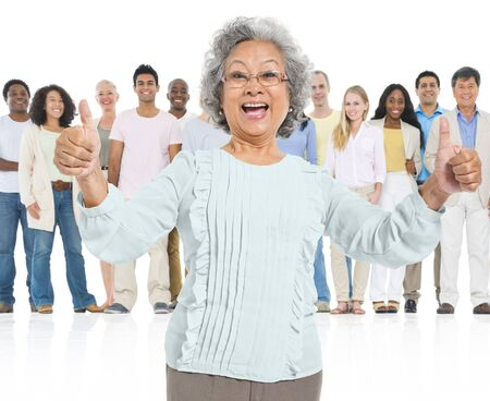 standing out in the crowd: Senior Adult Feel Glad Standing Out Crowd Concept Stock Photo